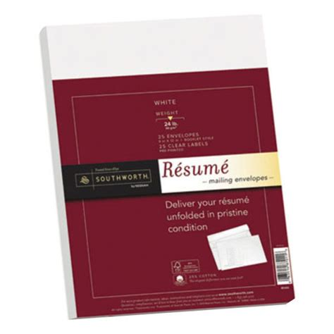 southworth rf6q 9 quot x 12 quot white 25 cotton resume envelope with watermark 25 box
