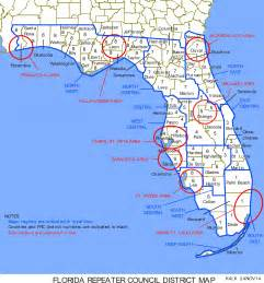 map of south central florida florida repeater council district and region map