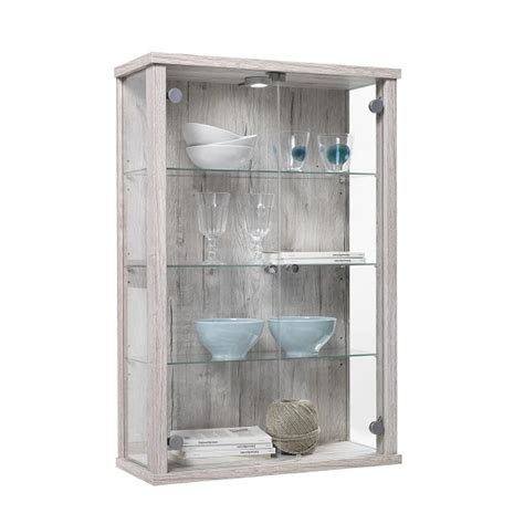 Small Glass Display Cabinet neptune small glass display cabinet in sand oak with led