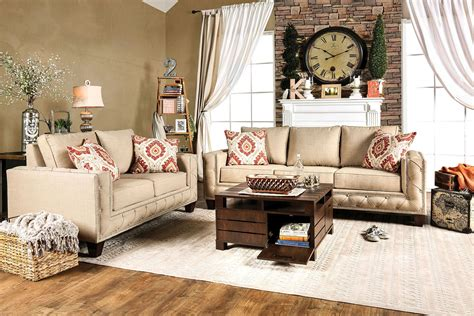 Living Room Sets Made In Usa Norwick Beige Living Room Set Sm6306 Sf Furniture Of America
