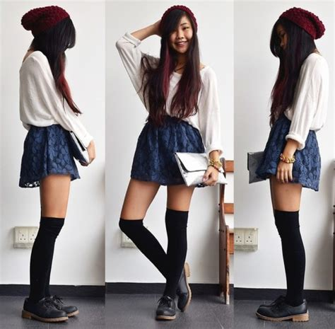 with knee high socks skirt