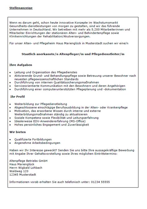 Bewerbung Als Hausmeister Im Altenheim Bewerbungsmuster Pflegedienstleiterin Pflegedienstleiter