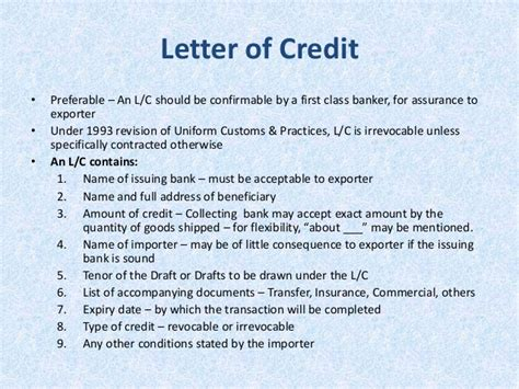 Letter Of Credit Tenor Lect 6 Materials Management Import Purchase