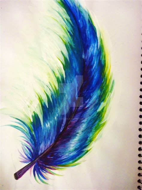 rainbow feather by kyla nichole on deviantart