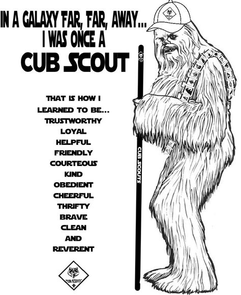 gold star coloring page akela s council cub scout leader training chewbacca was