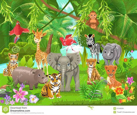 imagenes de animales y plantas de la selva animales de la selva ilustraci 243 n del vector ilustraci 243 n