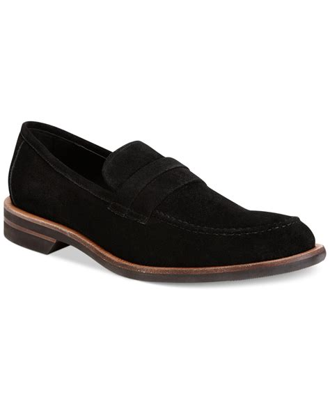 suede loafers for calvin klein yurik suede loafers in black for lyst