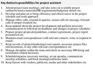 Project Management Assistant Description by Project Assistant Description