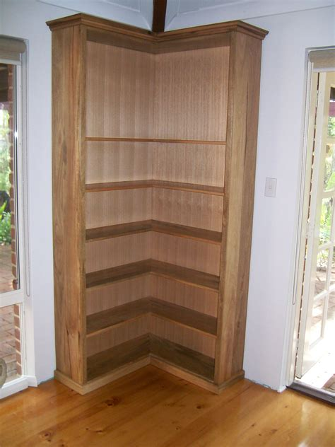 sided wood corner bookcase design decofurnish