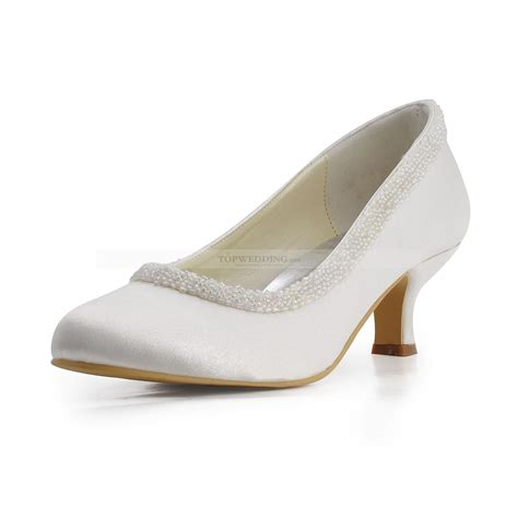 Hochzeitsschuhe Satin by Ivory Satin Bridal Shoes With Pearl