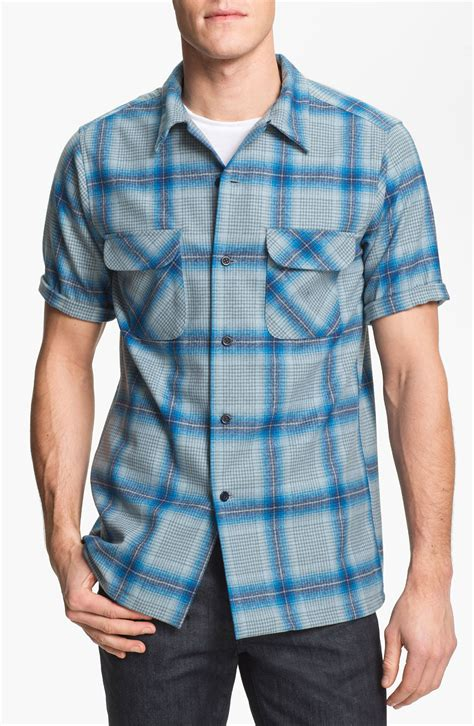 Bord Blue Blouse pendleton board fitted sleeve wool shirt in blue for lyst
