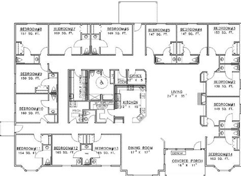 15 Bedroom House Plans | 5646 square feet 14 bedrooms 15 batrooms on 1 levels