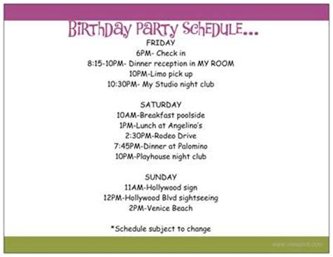 birthday itinerary template with a k the how to plan a large birthday