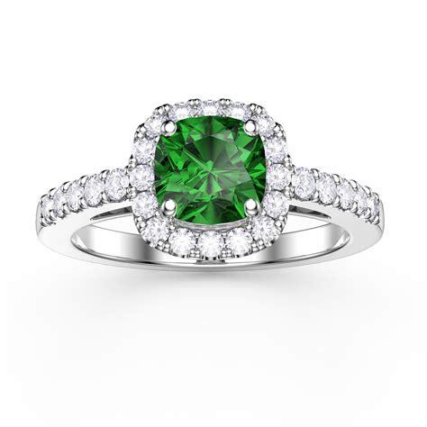 princess emerald and cushion cut halo platinum