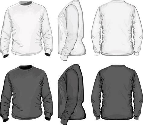 Kaos Crew Putih lengan panjang hitam dan putih t kemeja template vektor