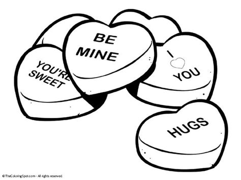conversation heart coloring page 10 valentine printable free clipart hearts cartoons and