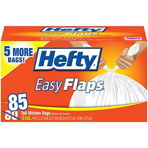 hefty easyflaps trash bags tall kitchen white 13 gallons