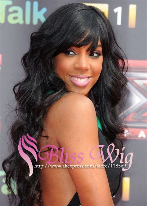 brazilian hair bang track celebrity kelly rowland glueless full lace wig with bangs