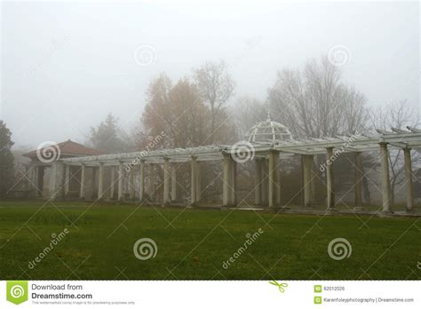 gazebo rainy days foggy garden breezeway and gazebo stock photo image