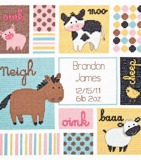 Cross Stitch Baby Birth Record Dimensions Baby Hugs Barn Babies Birth Record Counted Cross Stitch Kit At Joann