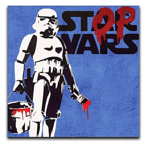 Yellow Black And White Kitchen - banksy stop wars star wars print they ll love wall art