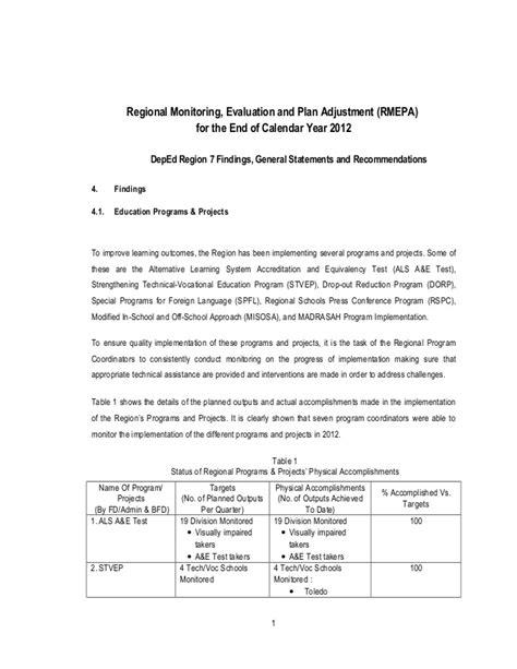 deped region 7 qaad s report on regional monitoring