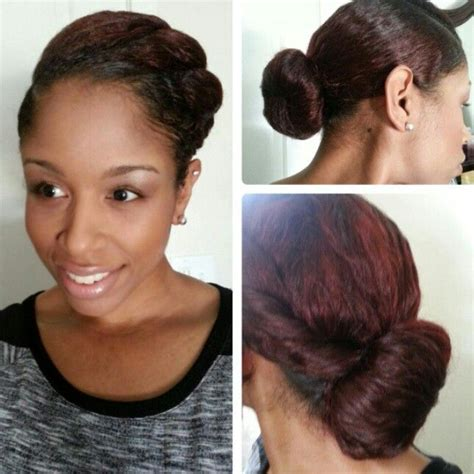 straight black hair pulled back in bun pin by officiallynatural hair beauty on natural
