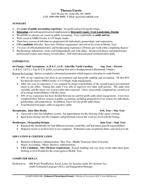 Exle Resume Accounting Year Experience Resume Of Accountant Sales Accountant Lewesmr