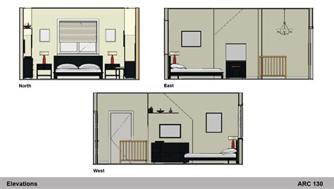 bedroom sec 2d furniture layout plan interior elevation interior