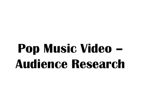 pop research pop audience research