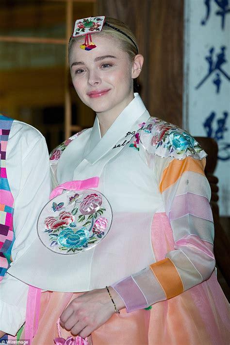 korean actress orange dress chloe moretz wears traditional korean dress during seoul