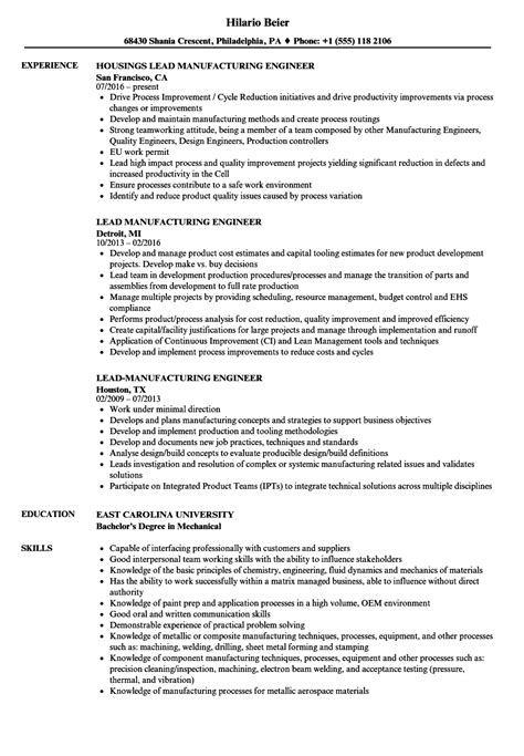 manufacturing project manager resume example
