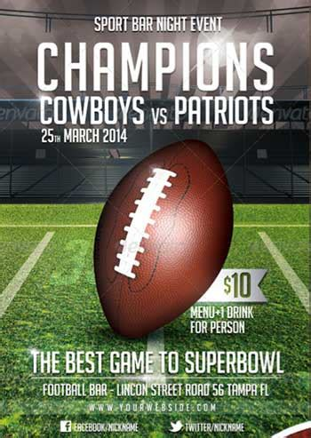 Flyer Designs For That Super Bowl Party Templates Football Flyer Template