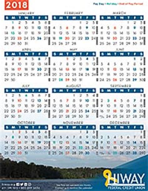 Federal Pay Calendar Payroll Calendars Hiway Federal Credit Union