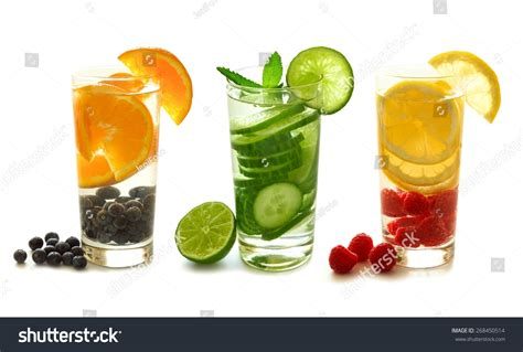 Different Types Of Detox by Three Types Of Detox Water With Fruit In Glasses Isolated