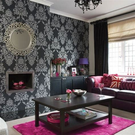black and pink living room scion cushion silver wallpaper silver living room and pink accessories
