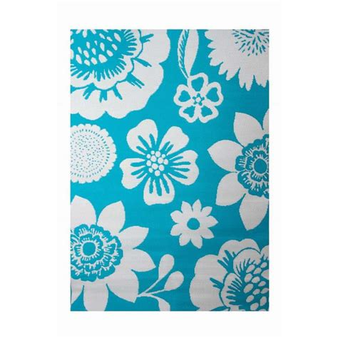 Turquoise Indoor Outdoor Rug by Shop Garden Treasures Turquoise Rectangular Indoor Outdoor Machine Made Tropical Area Rug