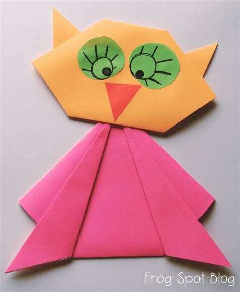 Kindergarten Origami - owl paper folding craft new teachers paper