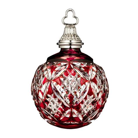 waterford cased ball ruby crystal ornament silver