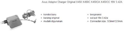 Original Adaptor Charger Laptop Asus X450c X450ca X452cp 1 harga charger laptop asus original terbaru 2017