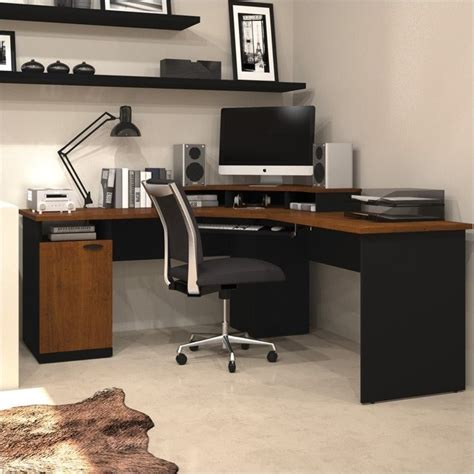 corner home office desks bestar hton wood home office corner tuscany brown
