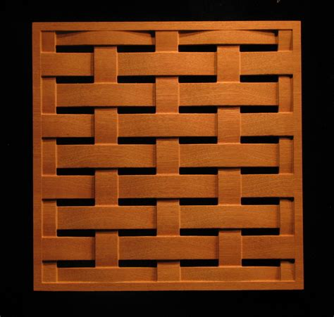 carved wood panels pattern  square weave
