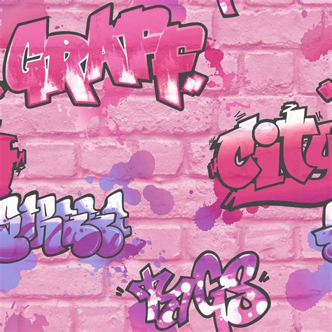 girls pink graffiti wallpaper glitter spray paint embossed