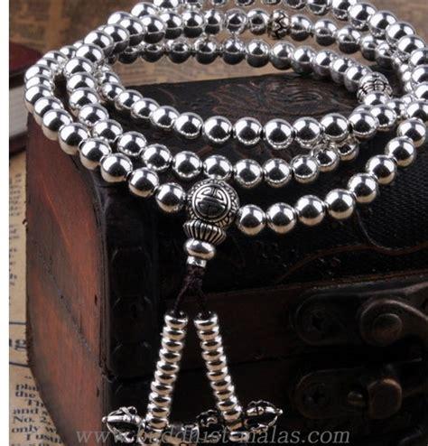 Handmade Malas - handmade 925 silver buddhist 108 mala tibetan malas