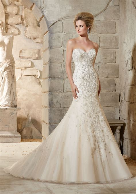 Beaded Wedding Gown by Beaded Embroidery Net Wedding Dress Style