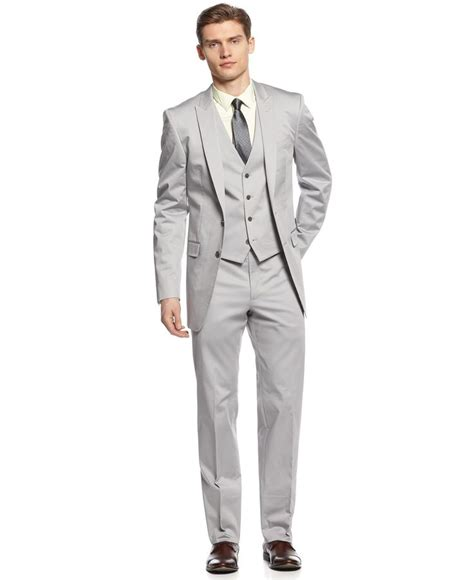 light gray fitted suits calvin klein x suit light grey vested peak big and tall