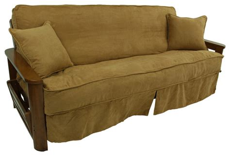 Futon Chair Cover by Solid Microsuede Futon Slipcover Set Slipcovers And