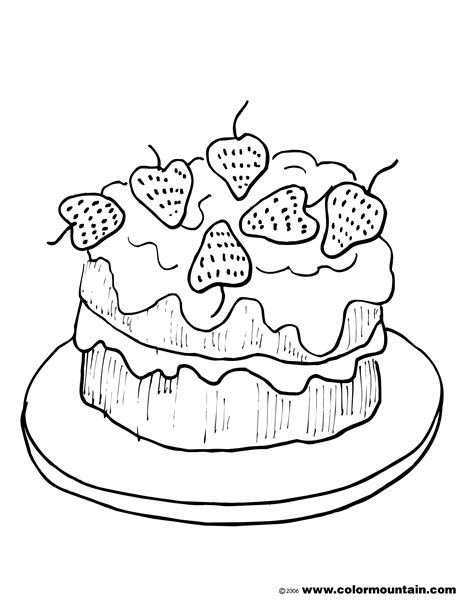Cake With A Delicious Strawberry Coloring Book Pages | double decker strawberry cake coloring page create a