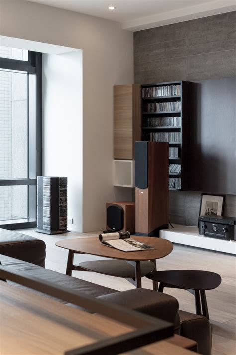 minimalist entertainment center partidesign creates spacious open concept apartment
