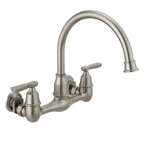 Delta Wall Mount Kitchen Faucet Delta Corin 2 Handle Wall Mount Kitchen Faucet In Stainless 22722lf Ss The Home Depot